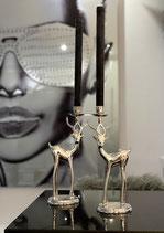 Florissima Rentier Hirsch Kerzenhalter Silber Poliert sehr edel im Set