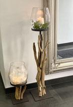 WMG Holz Windlicht Raisa 2 Größen mit Glas