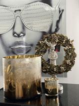 """Colmore Schriftzug """" Merry Christmas """" White Windlicht Glas 7x7x8"""