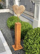 WMG Eisen Säule Edelrost mit Holzherz H110cm  12x12cm