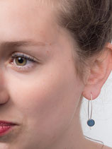 Silver earrings with blue porcelain