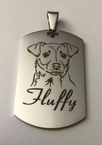 Premium Dog-Tag inkl. Gravur vom eigenen Haustier + Lederhalskette