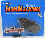 Ford F-250 4WD Pickup Truck with Machine Trailer  1/64 Ertl