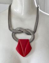 Jakob Bengel / Art Deco: geknotete Schlangenkette mit großem rotem Galalith Anhänger