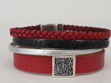 Lederarmband  Rot - Schwarz - Silber
