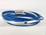 Leder-Wickelarmband blau - silber