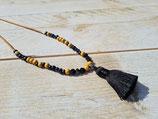 Lange Kette gelb schwarz mit Quast