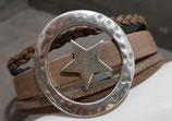 Vierfaches Leder- Armband, braun mit Stern