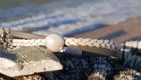 Armband 5mm grau weiß mit Swarovski Perle
