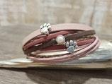 Leder-Wickelarmband rosa - braun mit Pfote