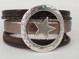 Leder- Armband braun mit Stern