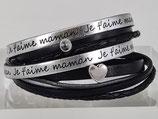 Ich liebe dich Mama - Leder-Wickelarmband Schwarz Silber mit Herz und Swarovski Element