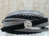 Leder-Wickelarmband Schwarz -Silber