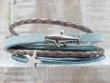 Leder-Wickelarmband Maritim Haifisch - Seestern