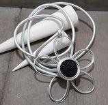 Große Blume Cabochon schwarz Silber Nappa Kette