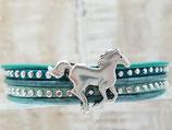 Kinderarmband Türkies / Glitzer mit Pferd