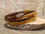 Leder-Wickelarmband Gelb Braun mit Feder