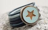Lederring Blau mit Stern