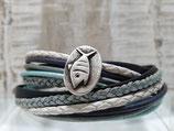 Leder-Wickelarmband Maritim Fisch Blau Türkies Silber Weiß