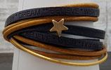 Leder-Wickelarmband in Senf mit Messing farbenden kleinen Stern