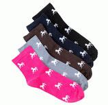"""Socken """"Sockies"""" mit Pferdemotiv von USG, Grösse 29 - 35 Pink"""