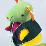 Känguru Sophie - Grün/Gelb/ gemustert mit dunkelgrüner Jacke