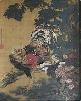 伊藤若冲「紫陽花双鶏図」作品のみ ※和紙に印刷