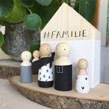 Familie    houten huis