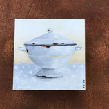 Emaille Suppen-Schüssel 2 auf Keilrahmen
