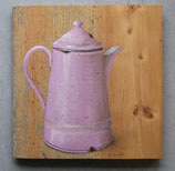 Emaille-Kanne rosa mit Goldrand