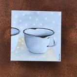 Emaille Kaffeetasse auf Keilrahmen