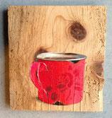 Emailletässchen rot mit Rosendecor