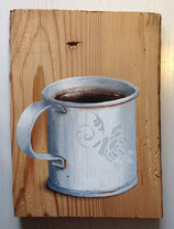 Blechtasse mit Kaffee & Rose