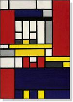 Composition avec jaune, bleu, noir, rouge et gris