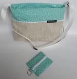 Handtasche aus Wachstuch mint-beige
