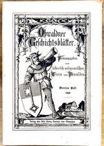 Historisch - antiquariatischer Verein, Obwaldner Geschichtsblätter. Viertes Heft. 1928