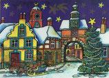 Wackelbildpostkarte Nikolaus im Dorf A6