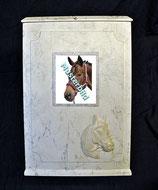 Pferdeurne im Marmordesign mit Bilderrahmen (Wechselrahmen)