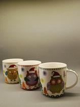 Tasse  Weihnachtseule 3-fach sortiert