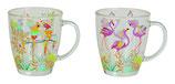 Tasse Glas Papagei/Flamingo