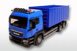Art.Nr. E20884 MAN TGS mit Abrollmulde gross 1:25, hellblaue Ausführung Euro5