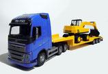 Art.Nr. E33754 Volvo FH Neu Tieflader mit Bagger 1:25, blaue Ausführung