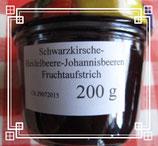 Kirsche-Heidelbeere & Johannisbeeren Fruchtaufstrich 200g-- F94