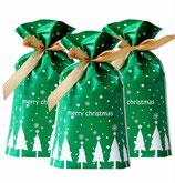 Weihnachtstüte XS  bedruckt mit Weihnachts-Motiv, oben verschlossen mit Schleife verziehrt. --ARTIKELENR: T6