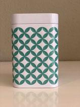 Teedose mit geprägtem Muster turquois