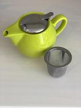 Teekanne in kiwi mit Siebeinsatz