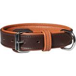 Knuffelwuff Leder Hundehalsband mit Schnallenschutz Detroit braun/orange