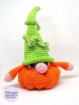 Lutin gnome citrouille scandinave pour Halloween en coton au crochet
