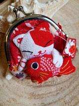 Porte-monnaie chat en relief -dominante rouge