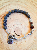 Bracelet dream lave marron et croix strassée